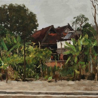 23 Yang Feiyun, New Green in front of the House   50X60cm 2019