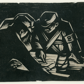 """Before the Attack"", Shaanxi,Monochrome Woodcut,15.5cm×20cm,Collection of Hu Yichuan Research Institute of Guangzhou Academy of Fine Arts,1937"