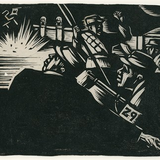 """Anti-Japanese War in Lugou Bridge"",Yan'an, Monochrome Woodcut, 15.7cm×20.1cm,Collection of Hu Yichuan Research Institute of Guangzhou Academy of Fine Arts,1938"
