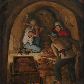 """Digging the Tunnel"",Hu Yichuan, Guangzhou,Oil on Canvas,146 x 112cm,1974"