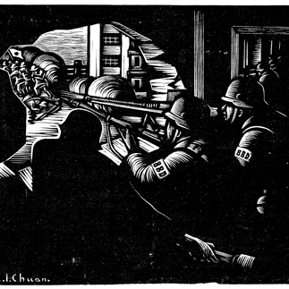 """Eight Hundred Heroes"", Yan'an,Monochrome Woodcut,15.5x20cm, Collection of National Art Museum of China,1938"