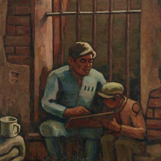 """In Prison"", Guangzhou,Oil on Canvas,133cm×94.5cm,Collection of Hu Yichuan Research Institute of Guangzhou Academy of Fine Arts,1981"