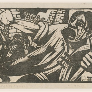 """Going to the Frontline"", Shanghai, Monochrome Woodcut, 25 x 33cm, 1932"