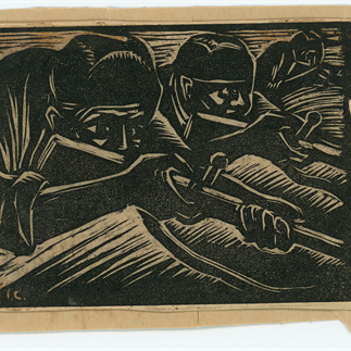 """The Bullet of Hatred"",Xiamen,Monochrome Woodcut,7.5cm×10cm,Collection of Hu Yichuan Research Institute of Guangzhou Academy of Fine Arts,1937"