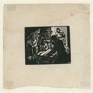 """The Eve""(organizing the guerilla team to develop widespread guerilla forces), Shanxi, Monochrome Woodcut, 11.5 x 11.7cm, Collection of Hu Yichuan Research Institute of Guangzhou Academy of Fine Arts, 1939"