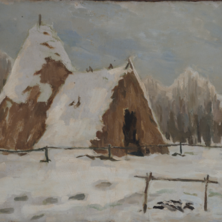 """The Straw Shed Where Lenin Lived"", Moscow, Oil Painting on Cardboard, 35cm×44.5cm,Collection of Hu Yichuan Research Institute of Guangzhou Academy of Fine Arts,1960"