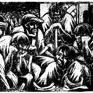 """Unemployed Workers"", Hangzhou, Monochrome Woodcut, 19cm×29cm, Collection of National Art Museum of China, Collection of National Art Museum of China, 1931"