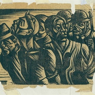"""Laborers under the Demon"", Yan'an, monochrome woodcut, 8.25 × 10.5cm, collection of Hu Yichuan Research Institute of Guangzhou Academy of Fine Arts, 1938"