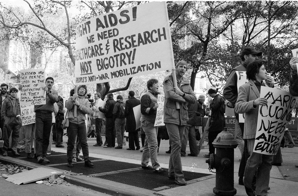 2. About 100 demonstrators protested on the steps of New York's City Hall on Nov. 15, 1985, as a City Council committee considered legislation to bar pupils and teachers with the AIDS virus from public schools..jpg