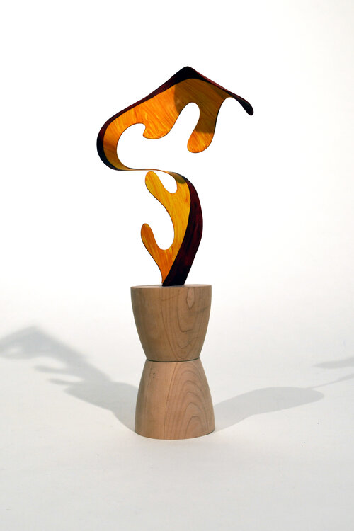 Wendy Letven, Flame, 2020. Painted Aluminum with on Maple Base, 18 x 8 x 5 inch ©Wendy Letven, courtesy Fou Gallery..jpg