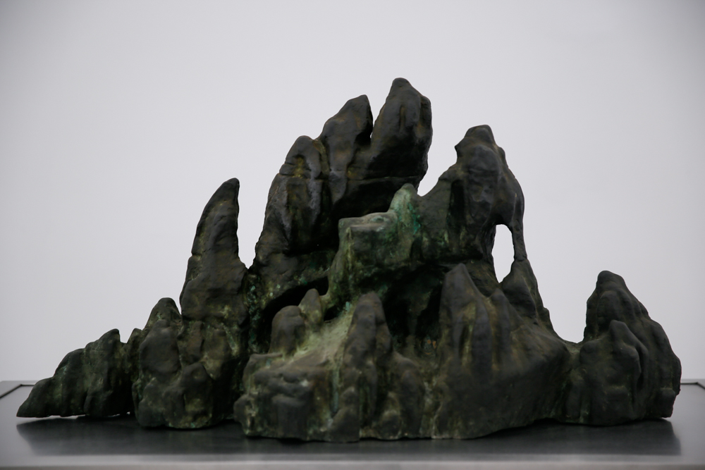 Small Floating Island of Immortals, 2013-2019, Unique, Bronze, colored with burning incense, 90x45x55cm, Exhibition View  ©️CAFA ART INFO Photo by Hu Sichen 18.jpg