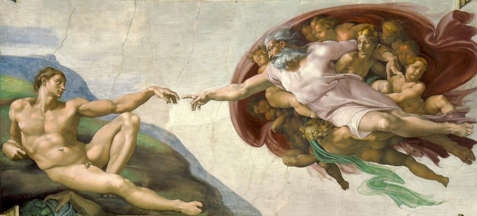 1米开朗琪罗,《创造亚当》