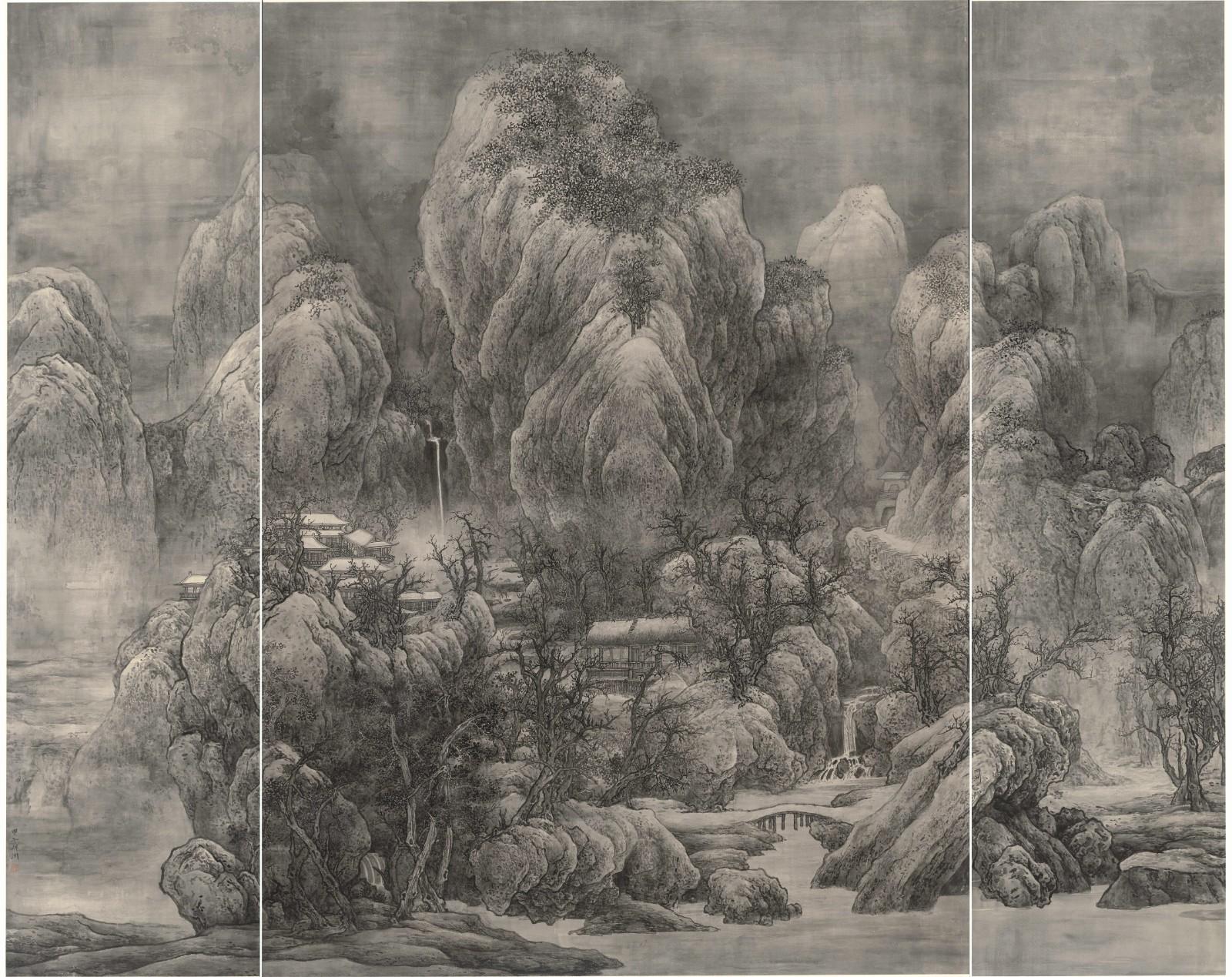 泰祥洲《天作高山》,水墨絹本,2014