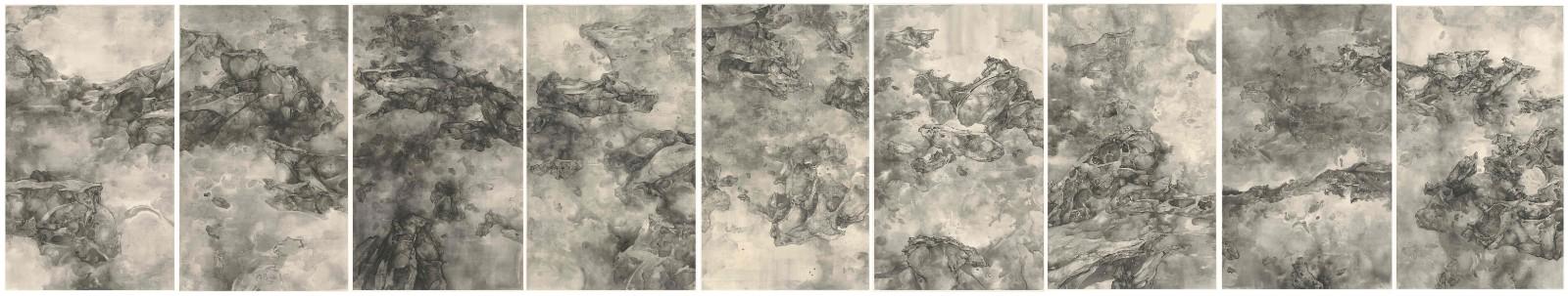 泰祥洲《平行宇宙》,絹本水墨, 2017