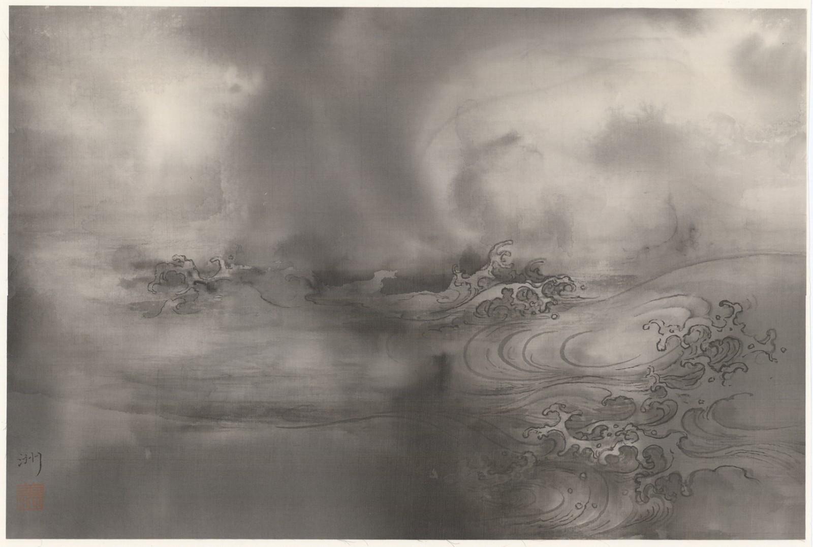 泰祥洲《潛龍嬉水》,水墨絹本,2017