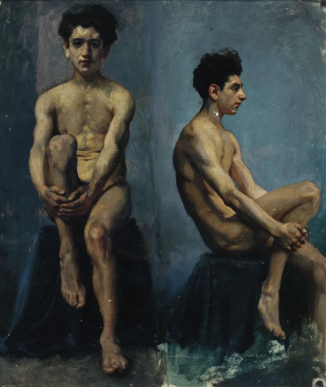 "16 Xu Beihong, ""A Front and Side Sketch of Man Nude"", 52×44cm, Oil on paper, 1924.jpg"