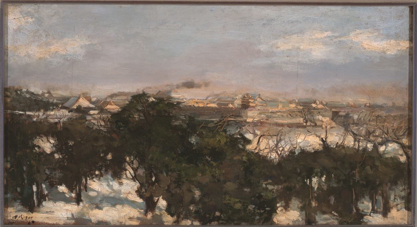 "19 Ai Zhongxin, ""Remnants of Snow in the Forbidden City"", 38×70cm, Oil on canvas, 1947.jpg"