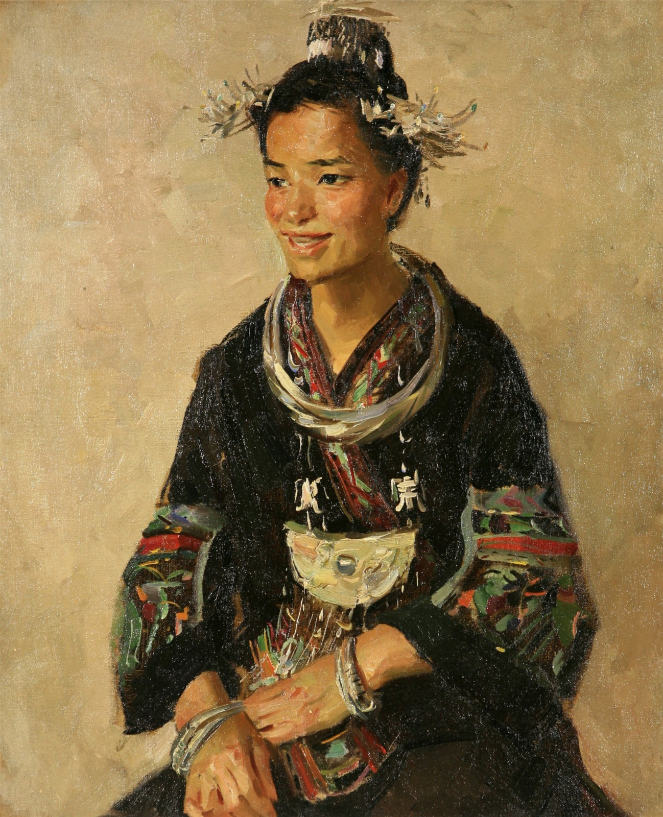 "22 Hou Yimin, ""Characters"", 45×38cm, Oil on canvas, 1954.jpg"