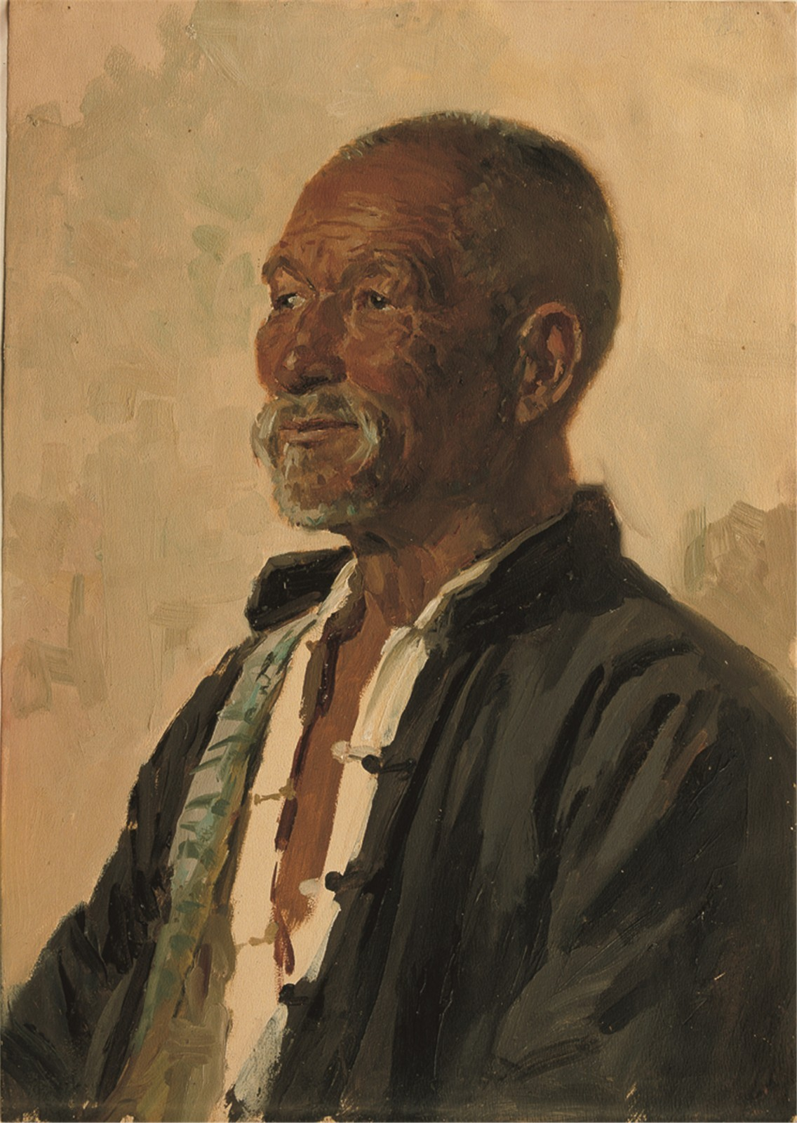 "26 Wang Shikuo, ""Old Boatman 2"", 55×39cm, Oil on paper, 1973.jpg"
