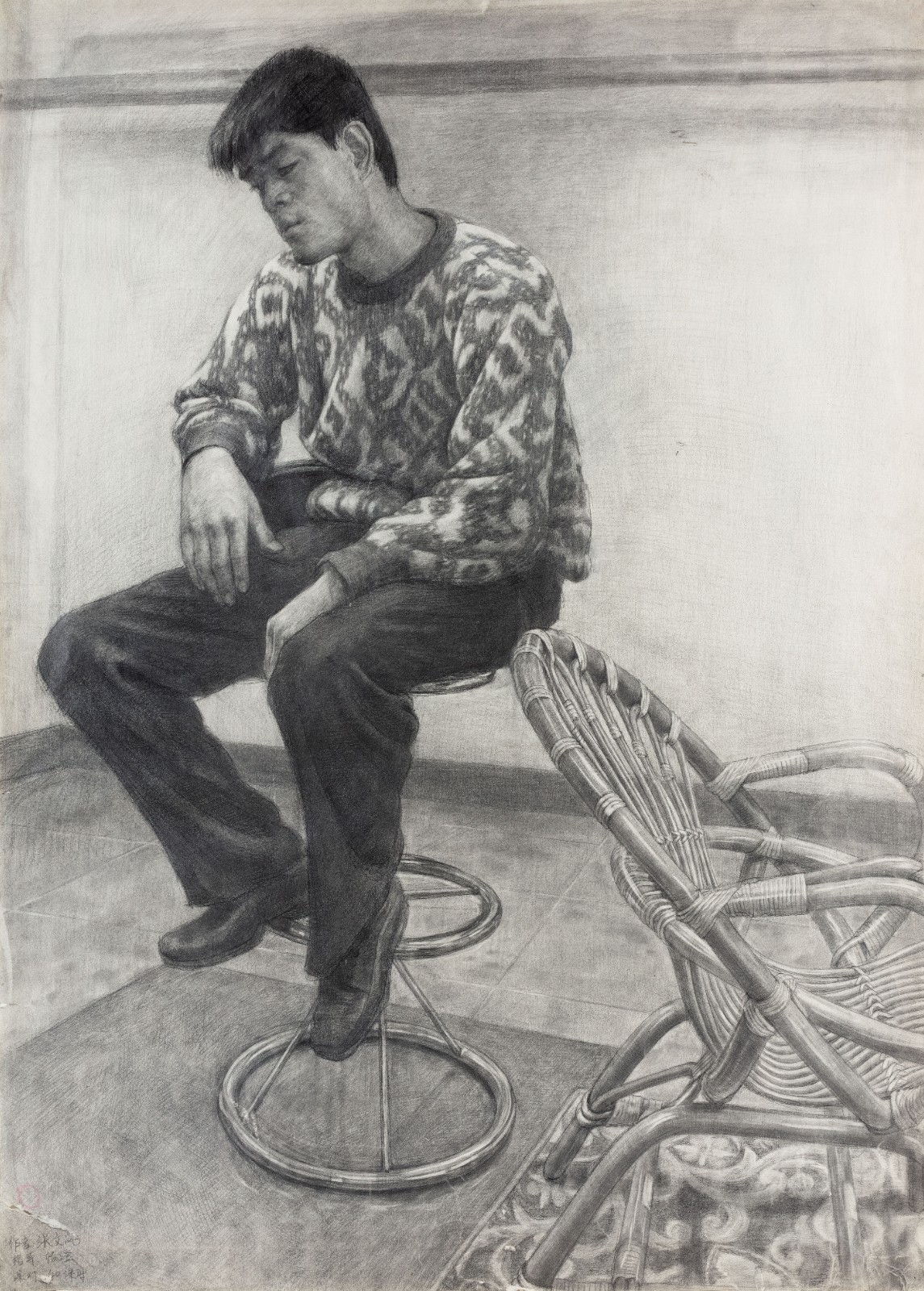 "32 Zhang Wenfeng, ""Sitting Man"", 107×77cm, Pencil on paper, 2002, Instructor Yang Cheng.jpg"