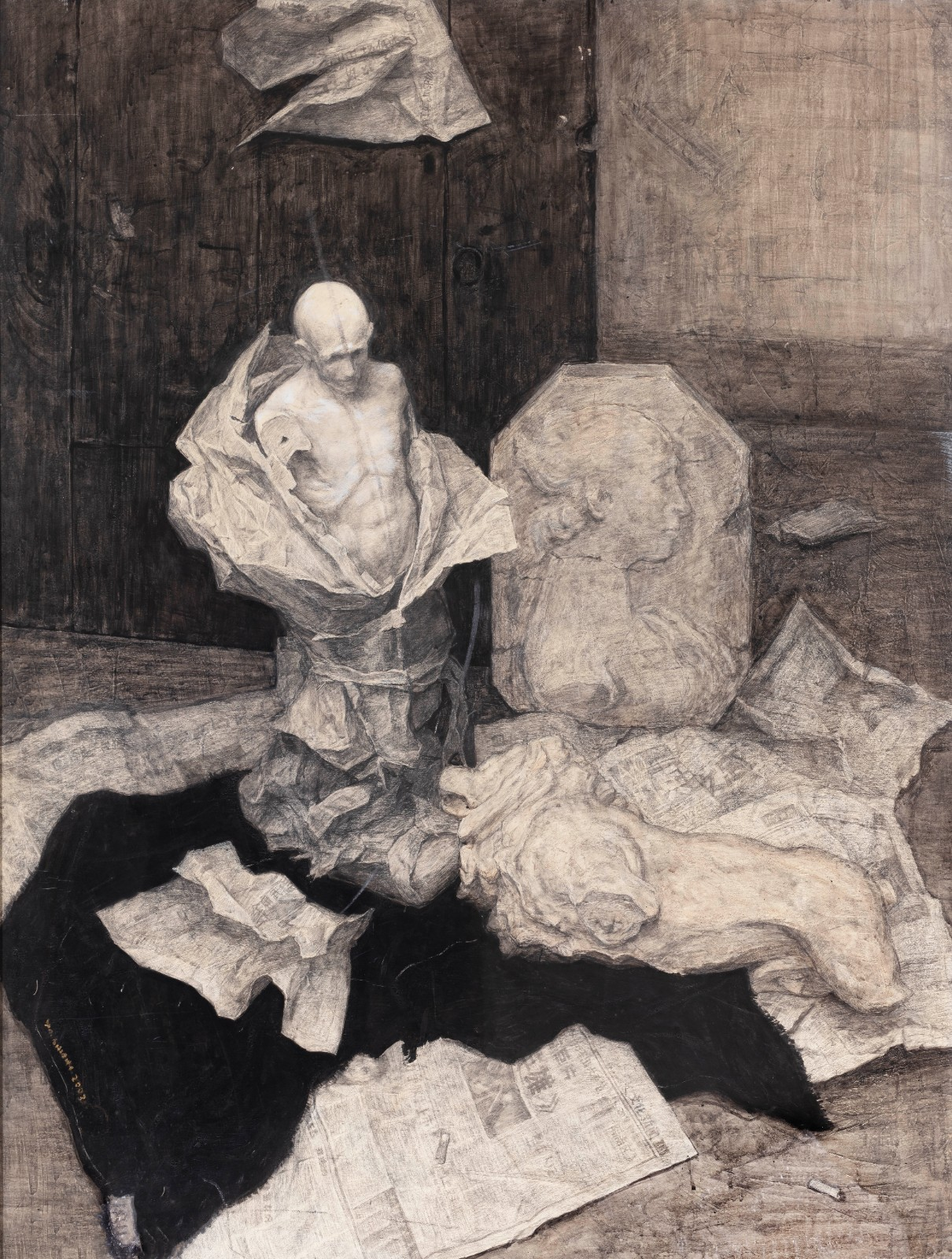 "33 Zheng Jiang, ""Still Life Combination"", 90×120cm, Charcoal and toner on paper, 2004, Instructor Ye Nan.jpg"