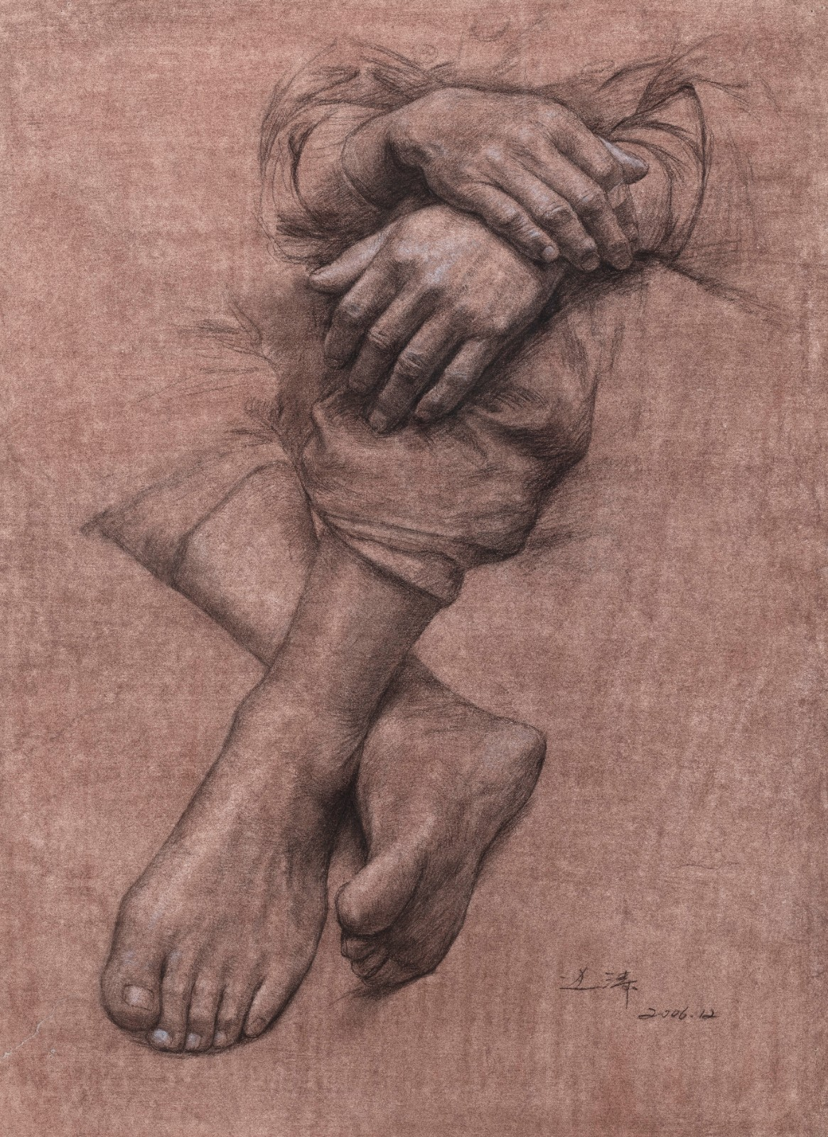 "45 Bian Tao, ""Sketches on Hands and Feet"", 59×44cm, Pencil on paper, 2007, Instructor Wang Shaolun.jpg"